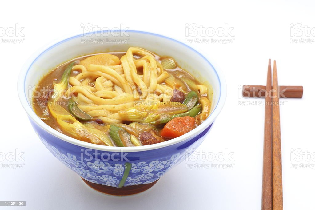 Udon cooked with curry topping royalty-free stock photo