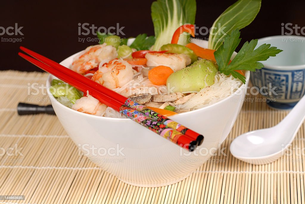 Udon noodles with vegetables and seafood royalty-free stock photo