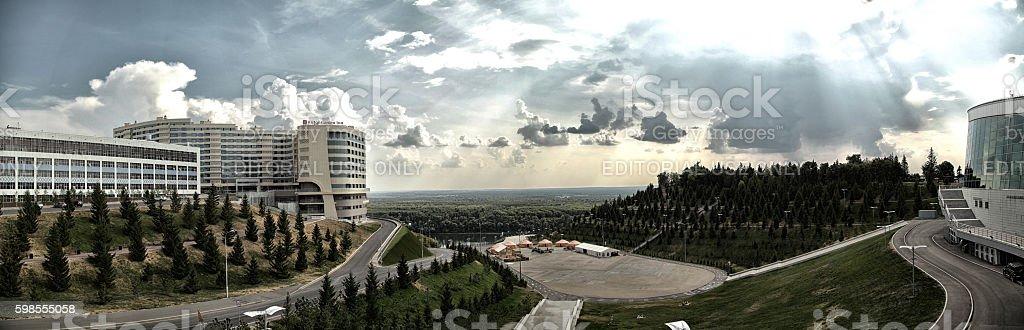 Ufa city panorama with Hilton hotel on background of nature stock photo