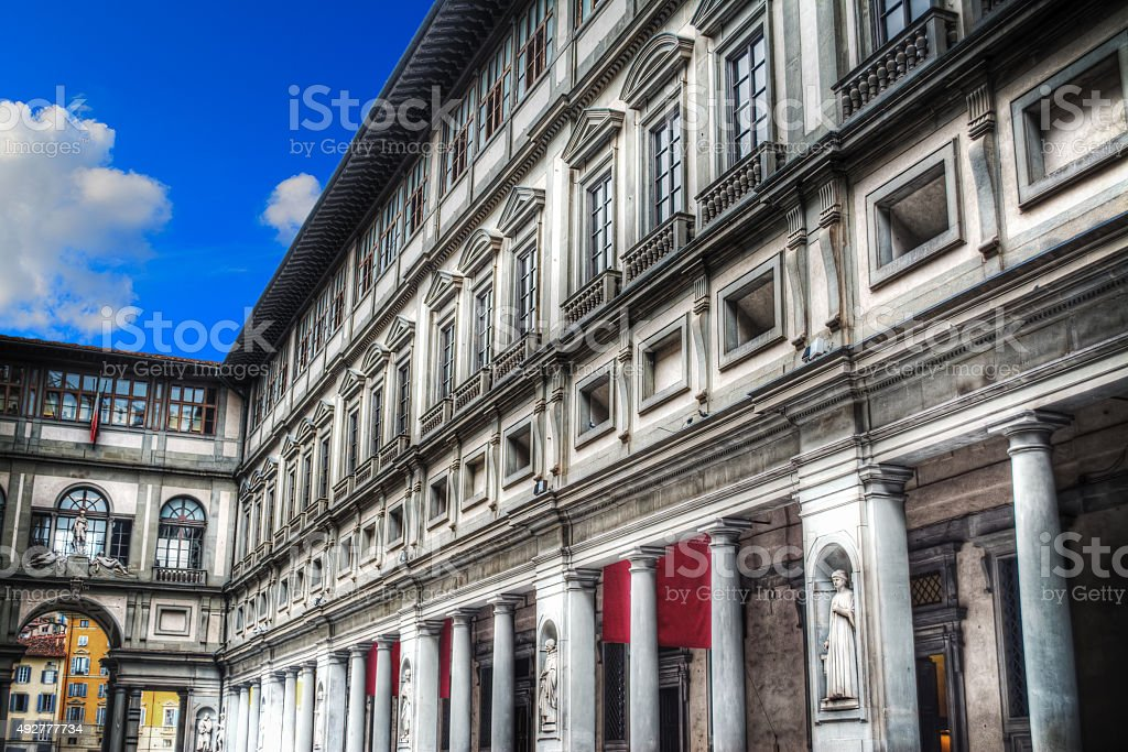 Uffizi Gallery in Florence under a blue sky stock photo