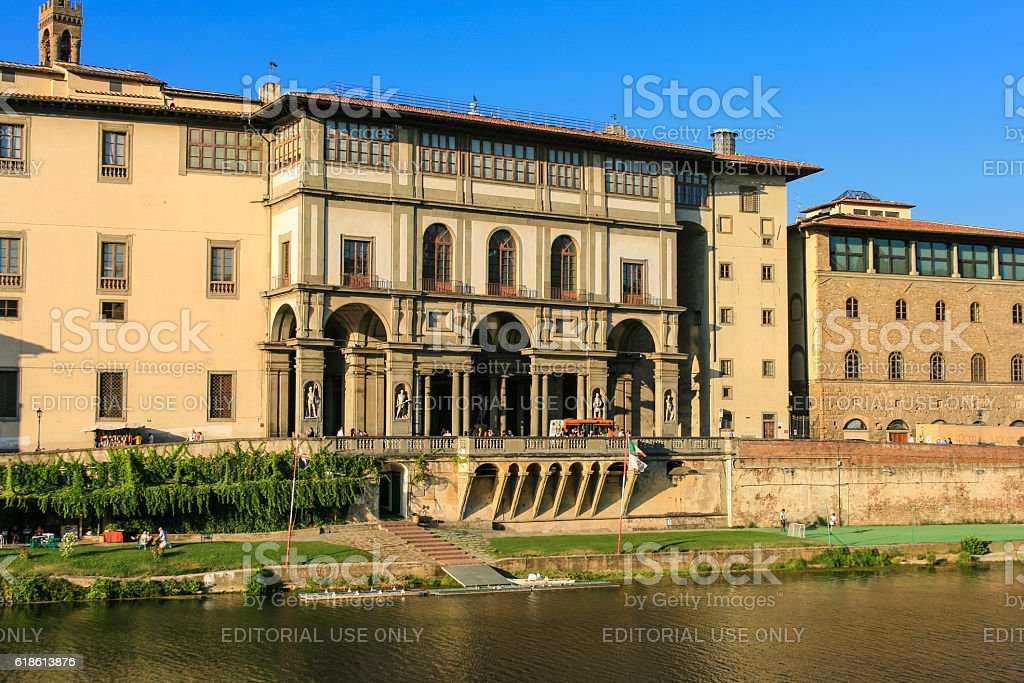 Uffizi Gallery, Soccer Field and Arno River, Florence, Italy. stock photo