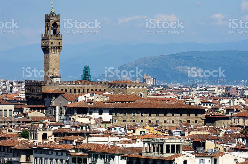 uffizi in florence from Piazzale Michelangelo on a sunny day stock photo