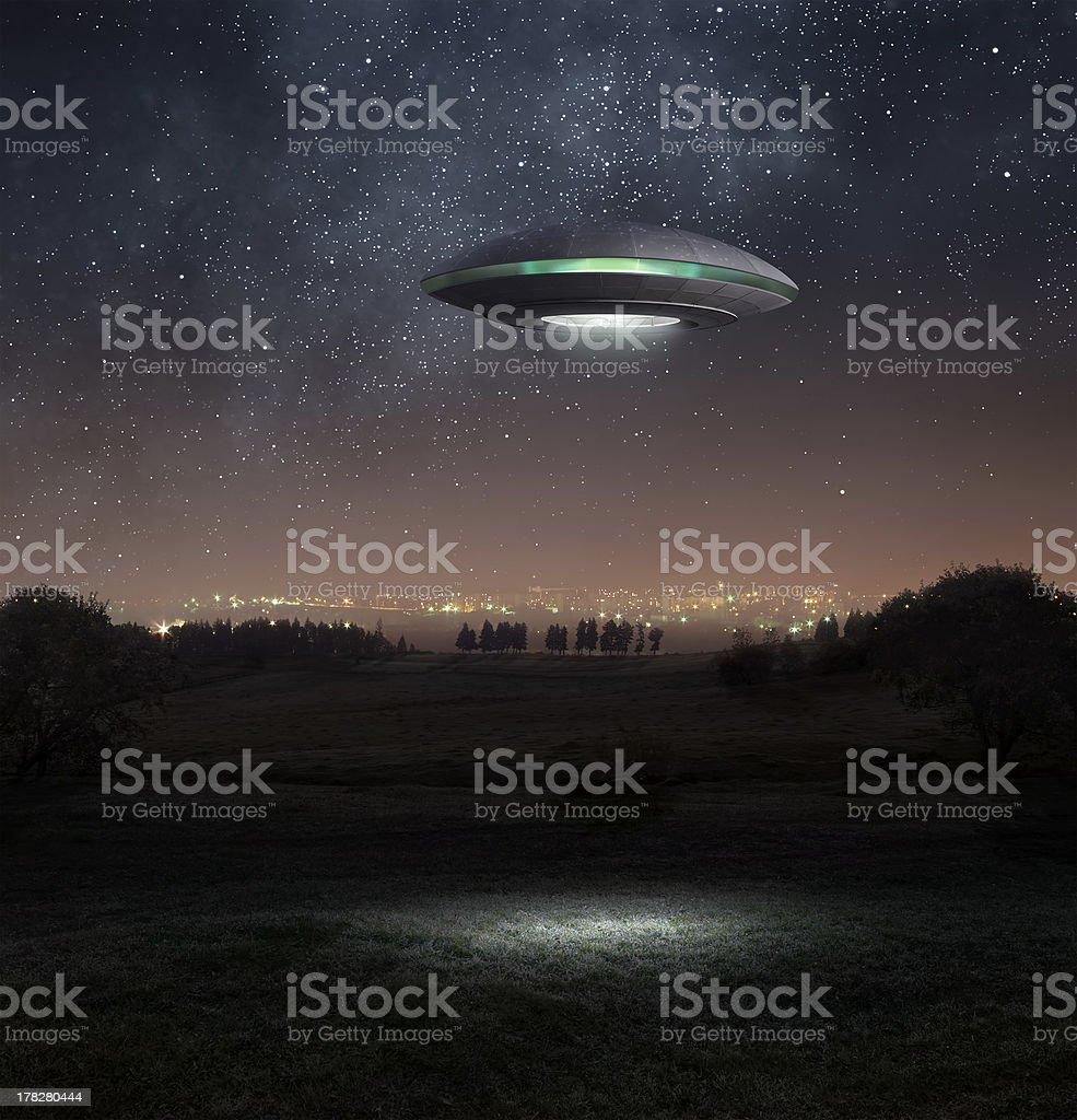 Ufo at night royalty-free stock photo