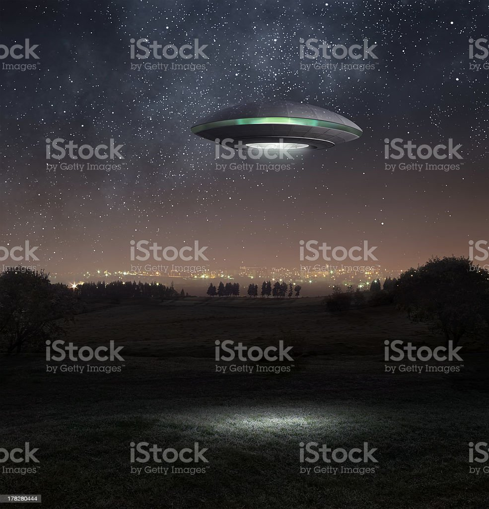 Ufo at night stock photo