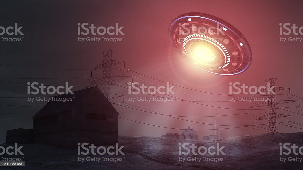 Ufo attacking and abducting a house stock photo