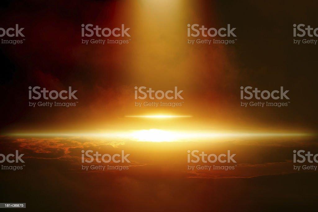 Ufo in dark sky royalty-free stock photo