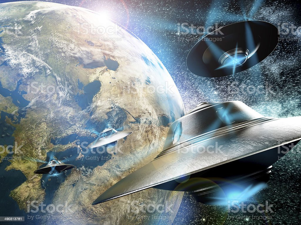 UFOs on Earth stock photo