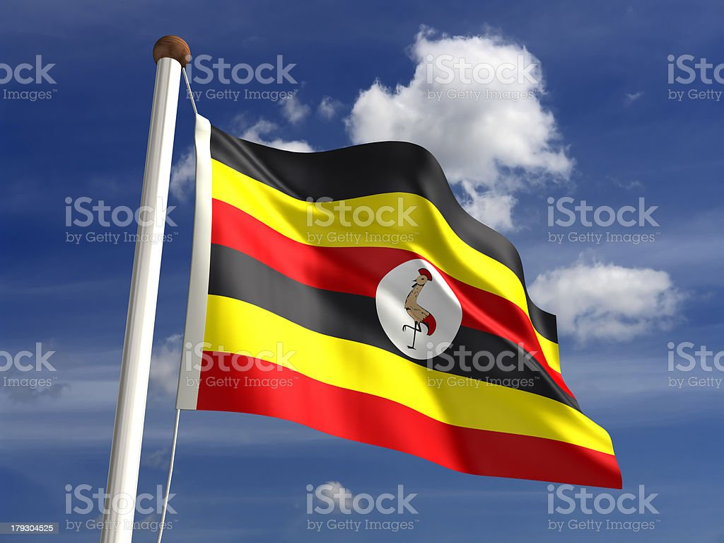 Uganda flag (with clipping path) stock photo