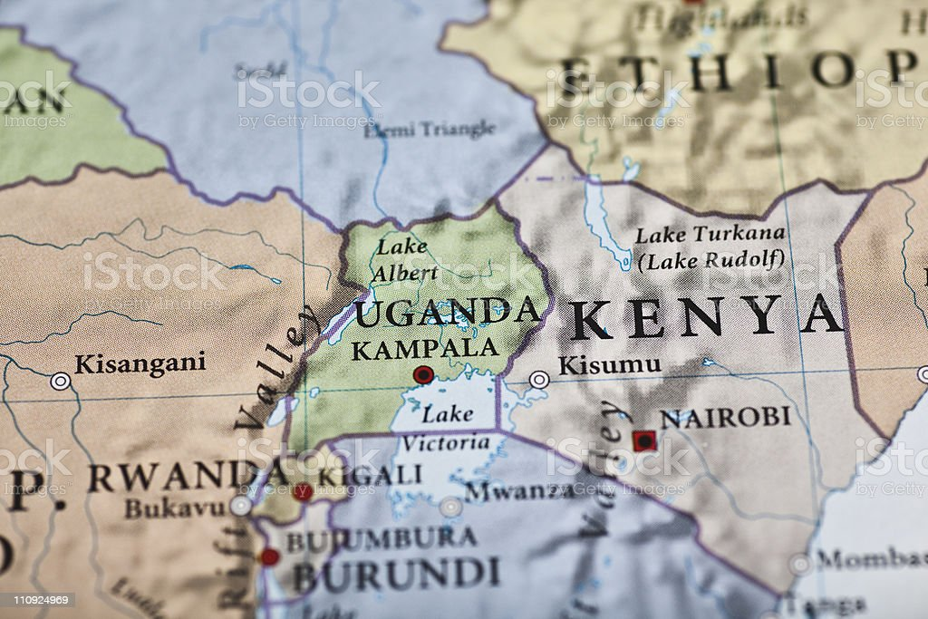 Uganda map stock photo