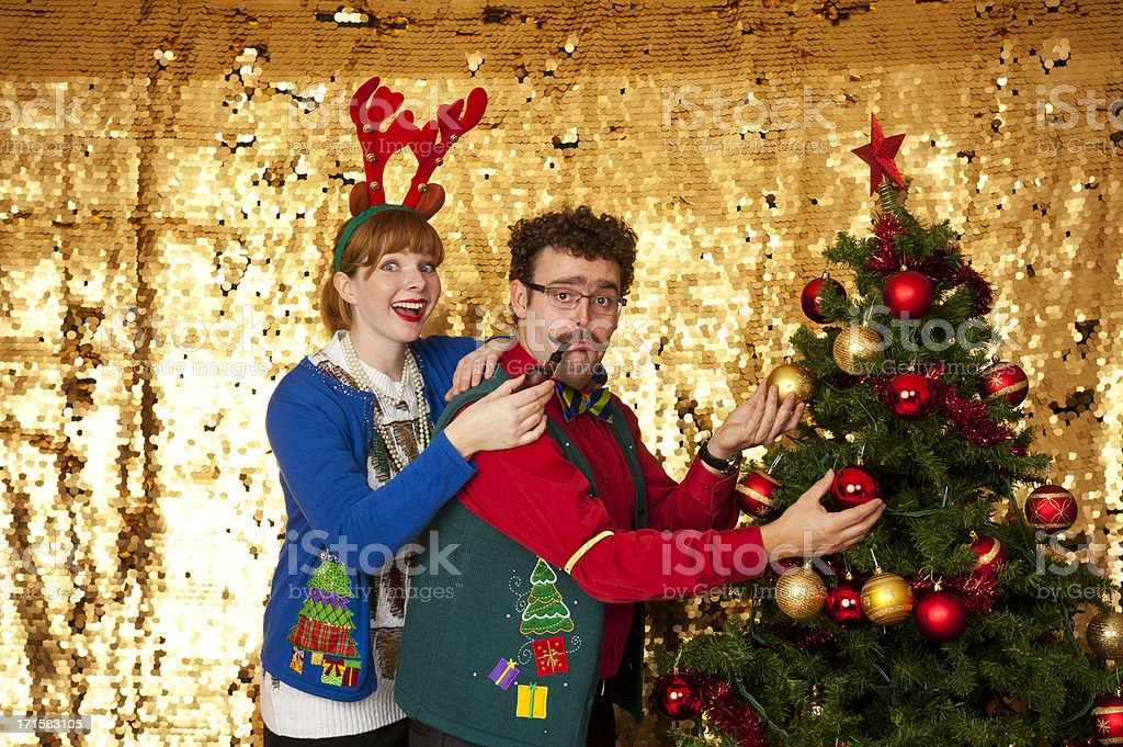 Ugly Christmas sweater couple royalty-free stock photo
