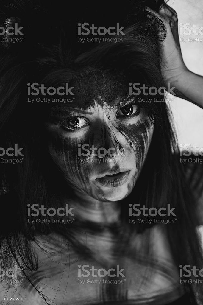 Ugly dirty face stock photo