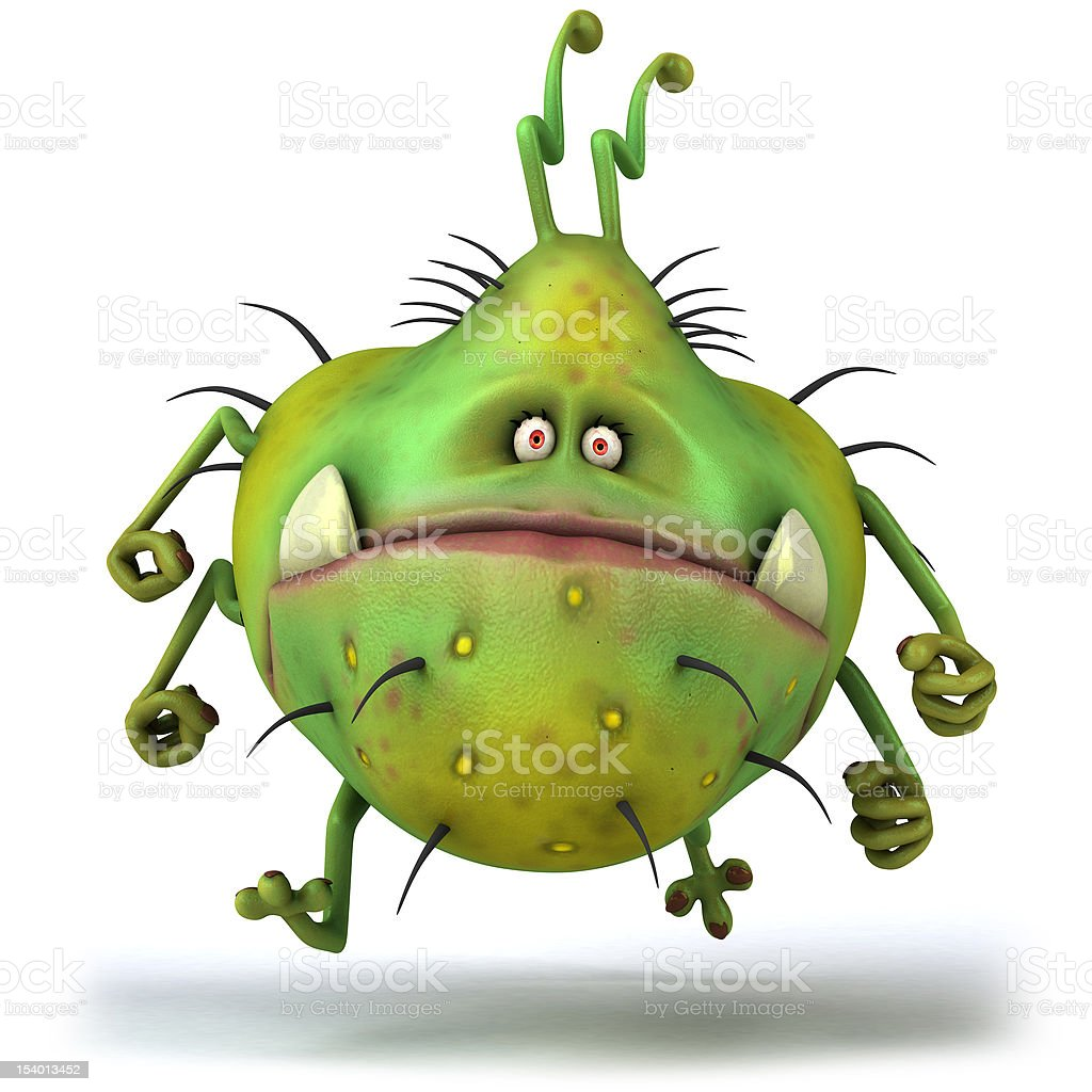 Ugly green germ against white background stock photo
