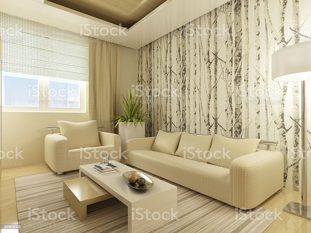 Ugly looking living room of cream royalty-free stock photo