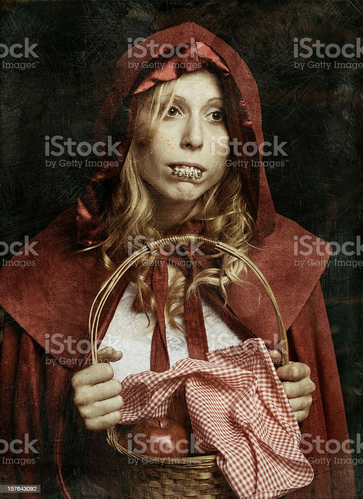ugly not so Little Red Riding Hood stock photo
