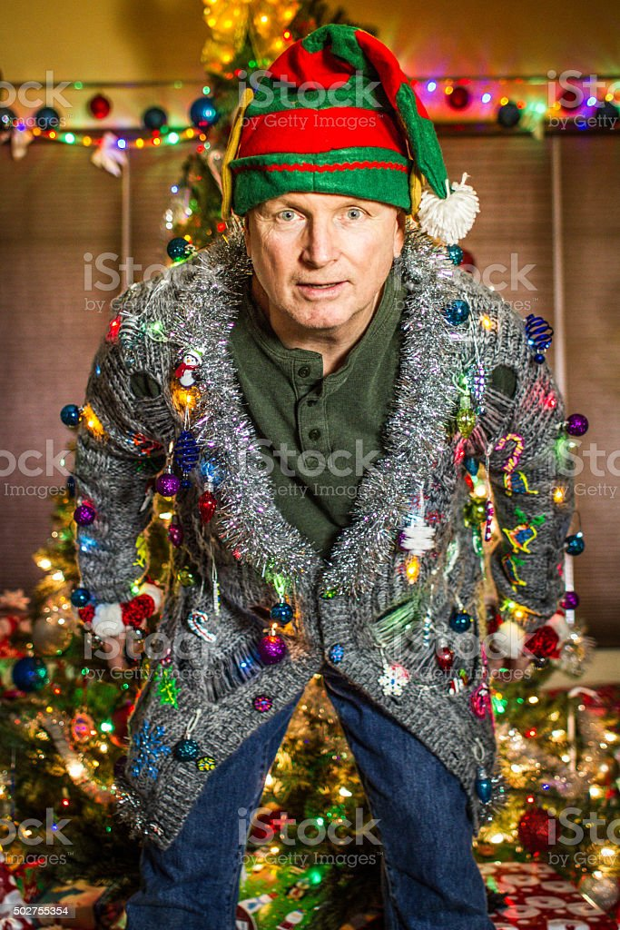 Ugly Sweater Elf stock photo