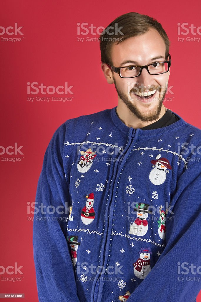 Ugly sweater geek royalty-free stock photo