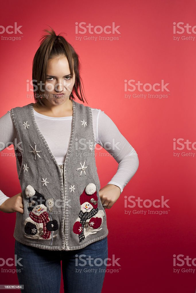 Ugly Sweater Lady royalty-free stock photo