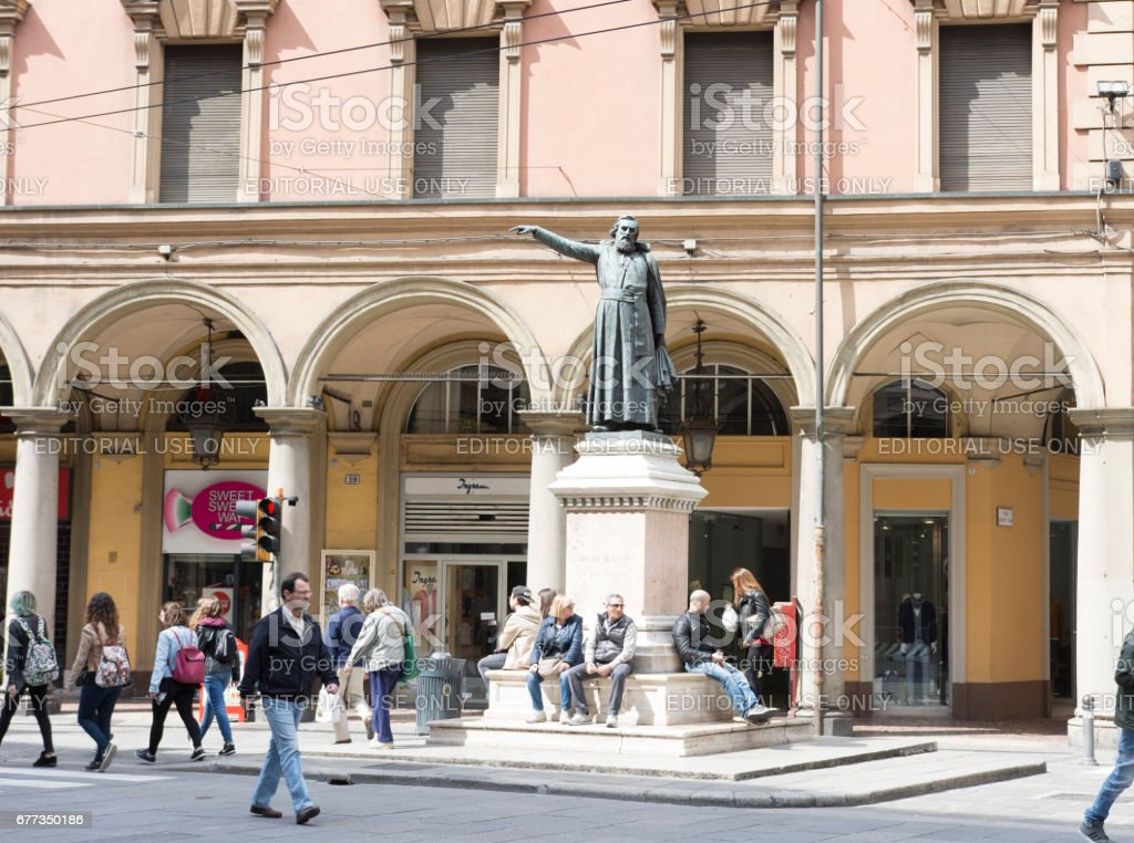 Ugo Bassi statue in Bologna stock photo