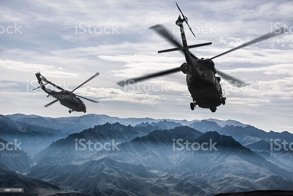 Uh-60 Black Hawks in flight stock photo