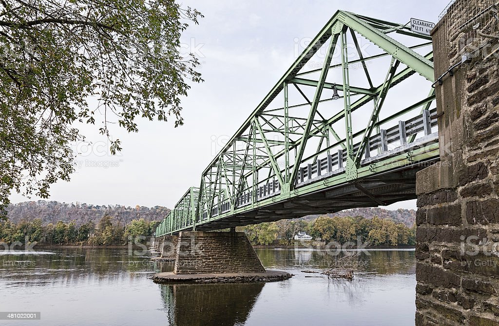 Uhlerstown-Frenchtown Bridge over the Delaware River stock photo