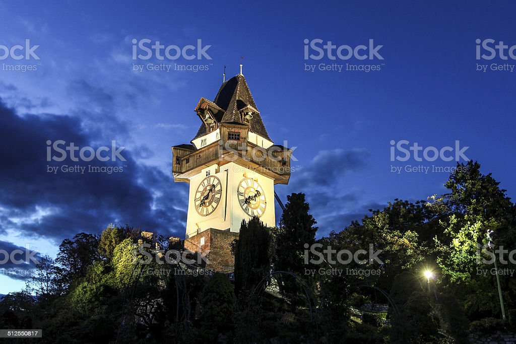 Uhrthurm Graz stock photo
