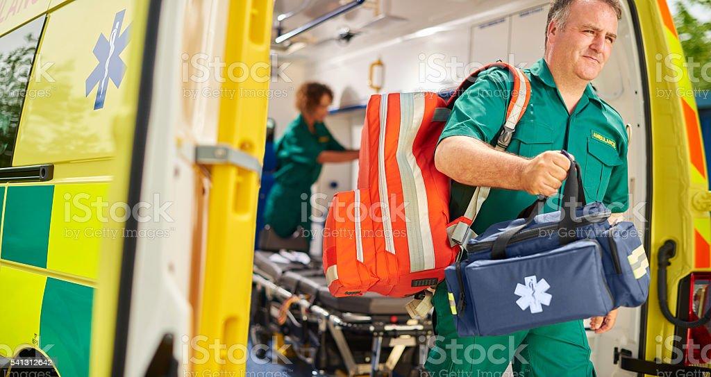 uk ambulance team stock photo