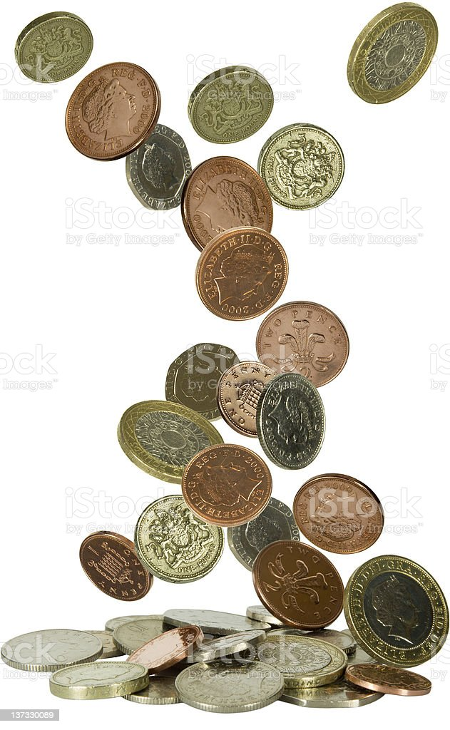 uk coins falling stock photo
