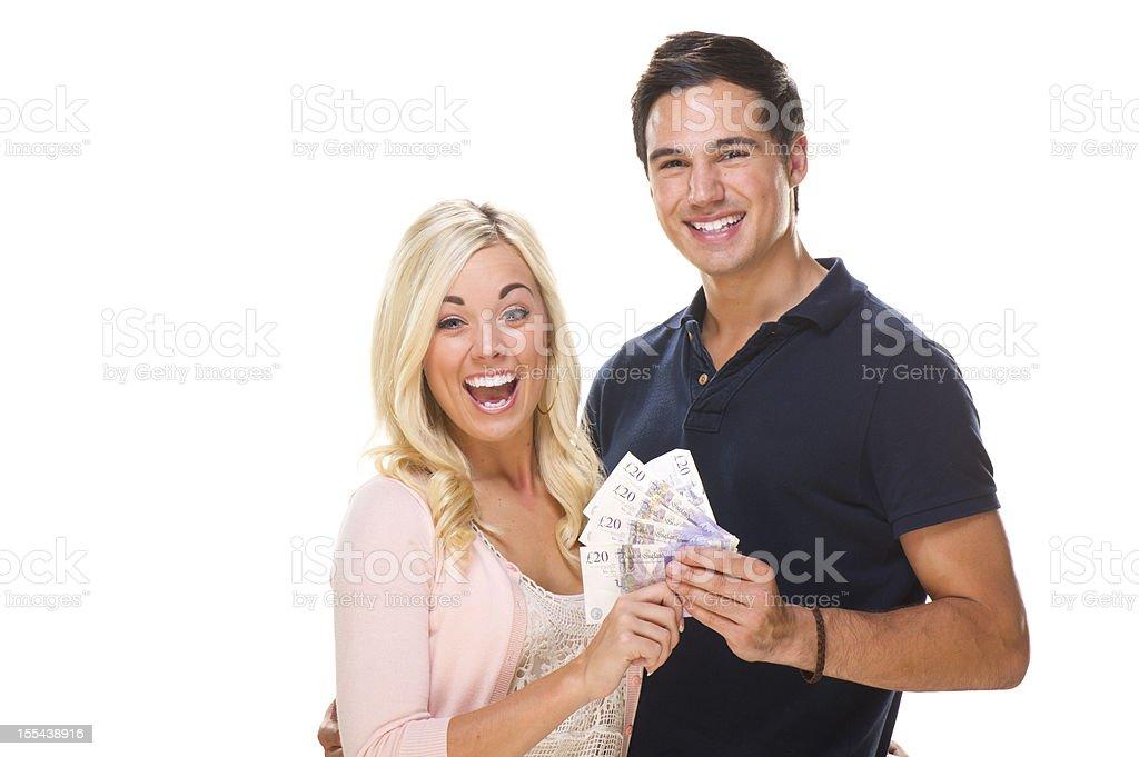 uk couple holding cash royalty-free stock photo
