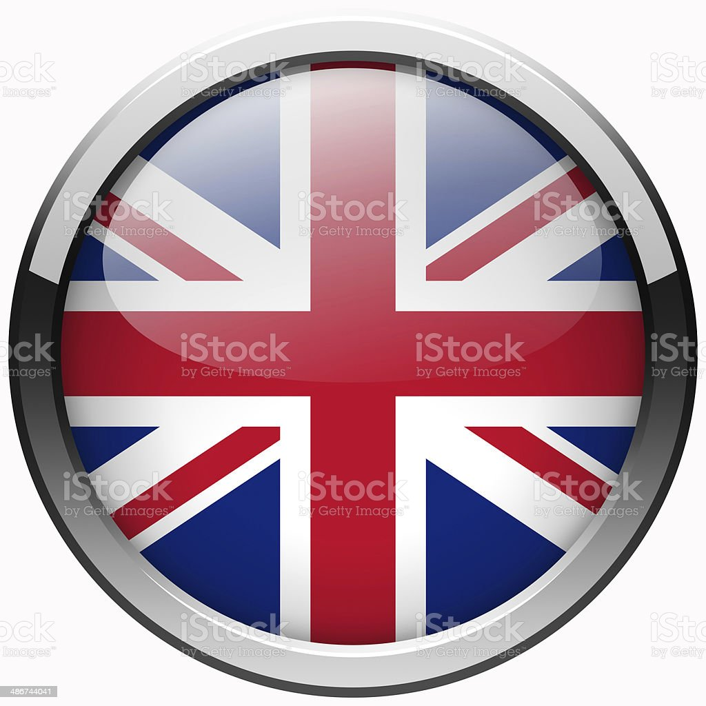 uk flag gel metal button vector art illustration