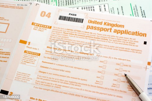 Uk Passport Application Form Stock Photo 137539000 | Istock