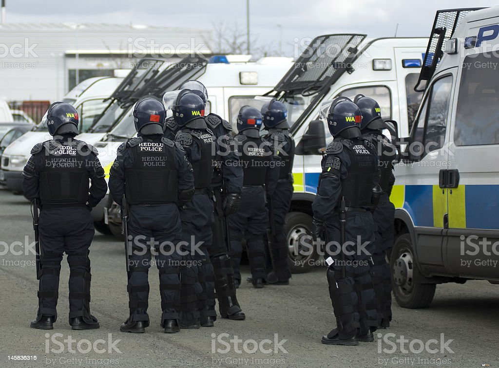 Uk Police Officers in Riot Gear stock photo
