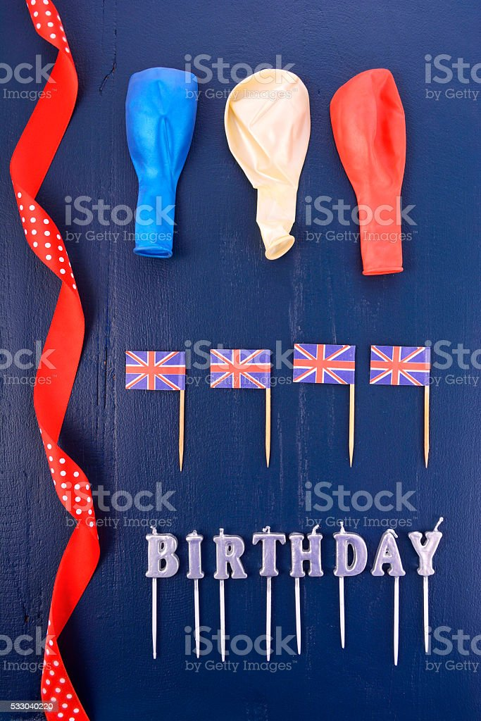 Uk theme party background with decorated borders. stock photo