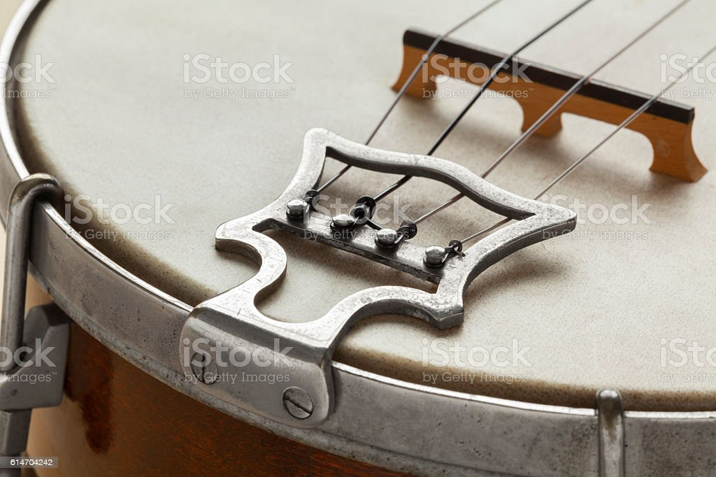 Ukelele banjo tailpiece stock photo