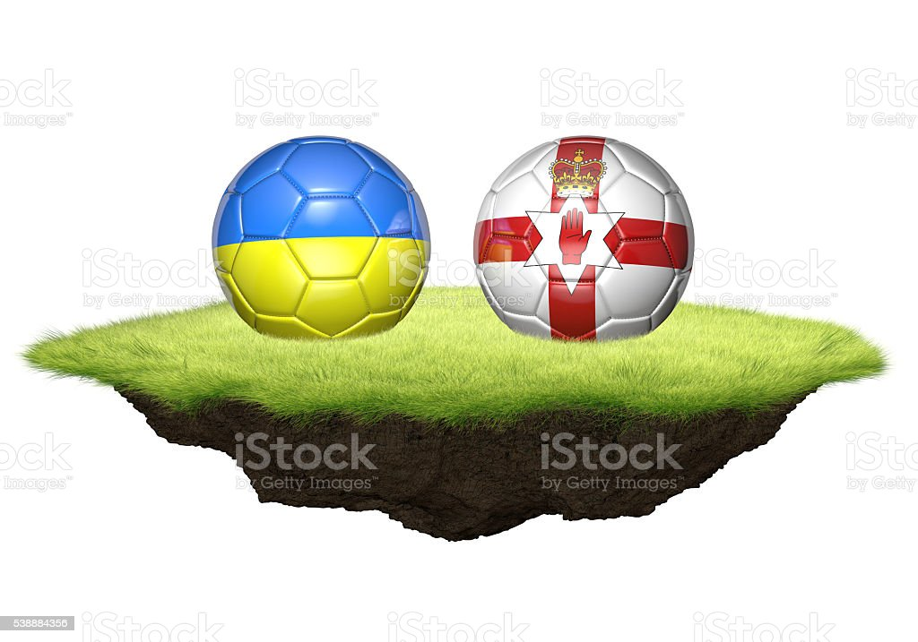 Ukraine and Northern Ireland team balls for football championship tournament stock photo