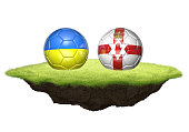 Ukraine and Northern Ireland team balls for football championship tournament