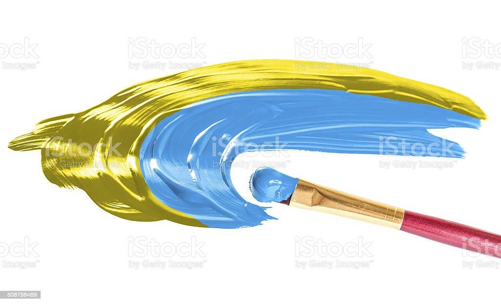 Ukraine flag.  Illustration paints on paper stock photo