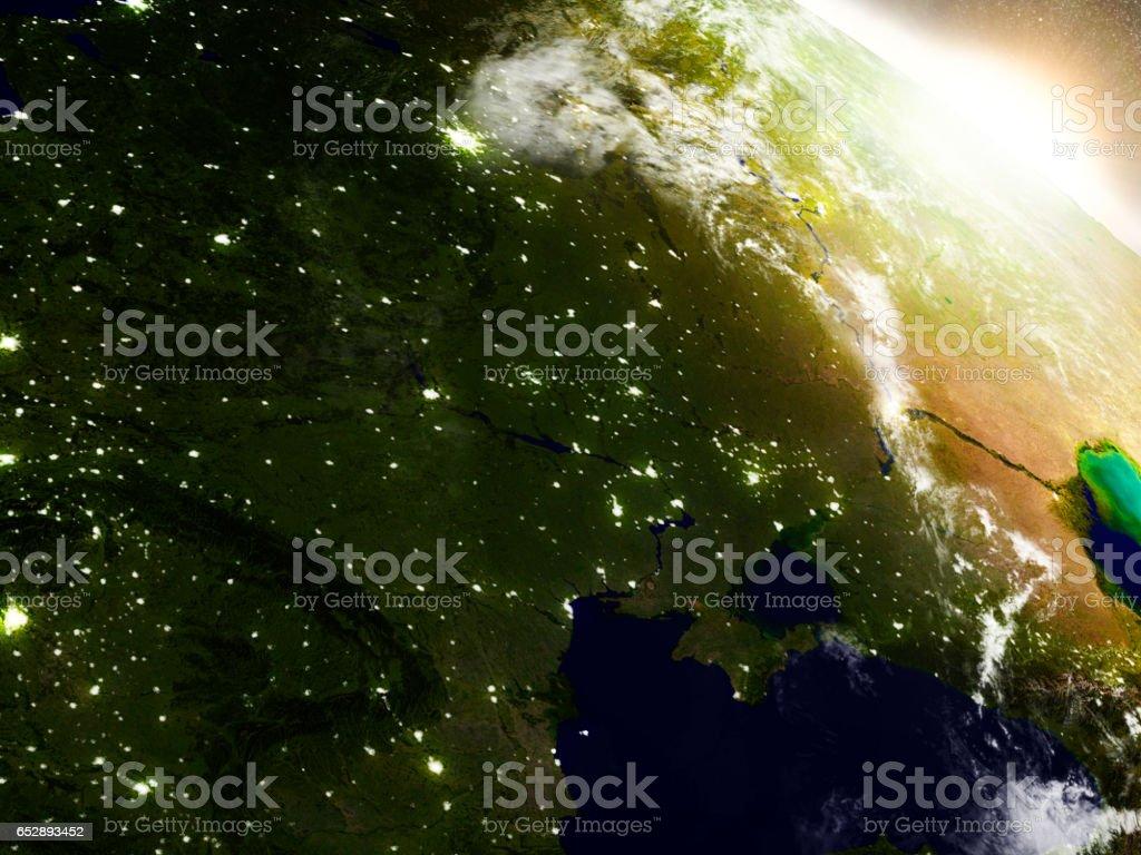 Ukraine from space during sunrise stock photo