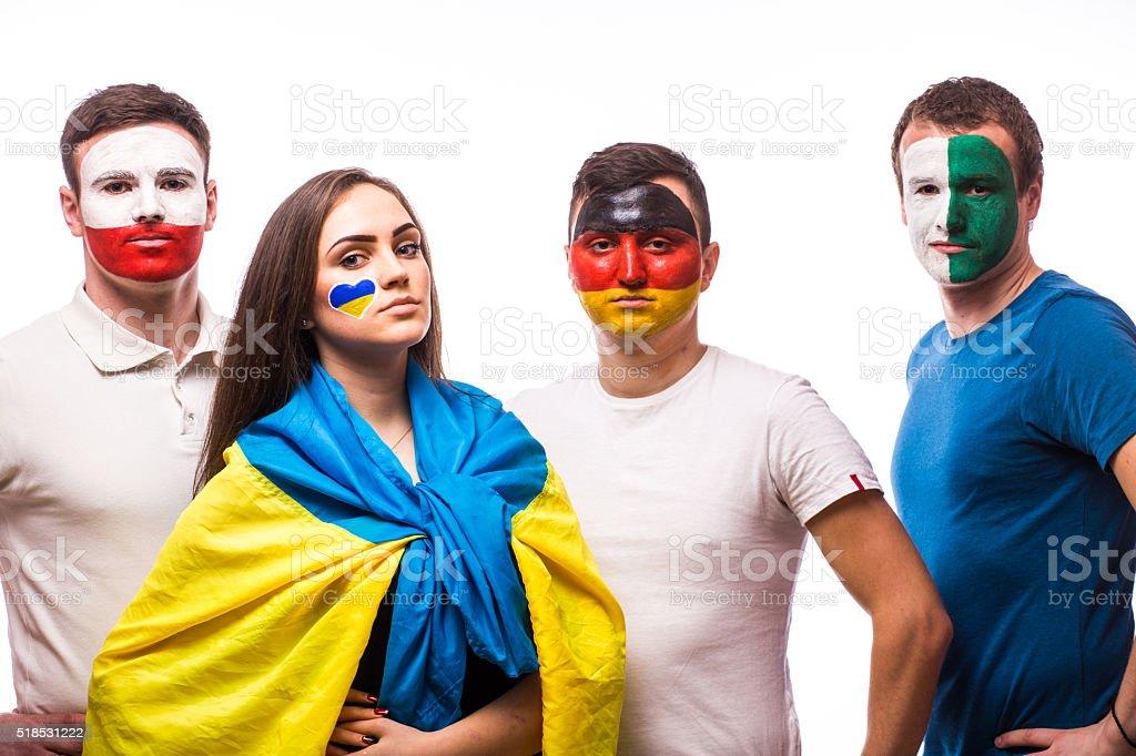 Ukraine, Germany, Poland, Northern Ireland at camera on white background. stock photo