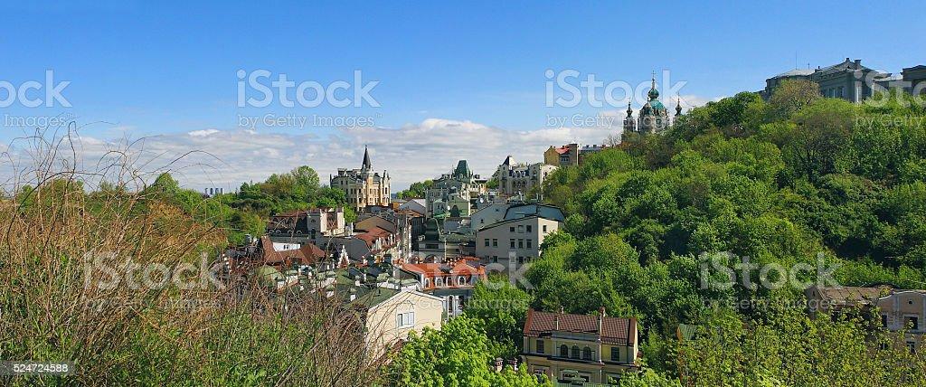 Ukraine, Kiev, beautiful view point, panorama at the Andriyivsky uzviz stock photo