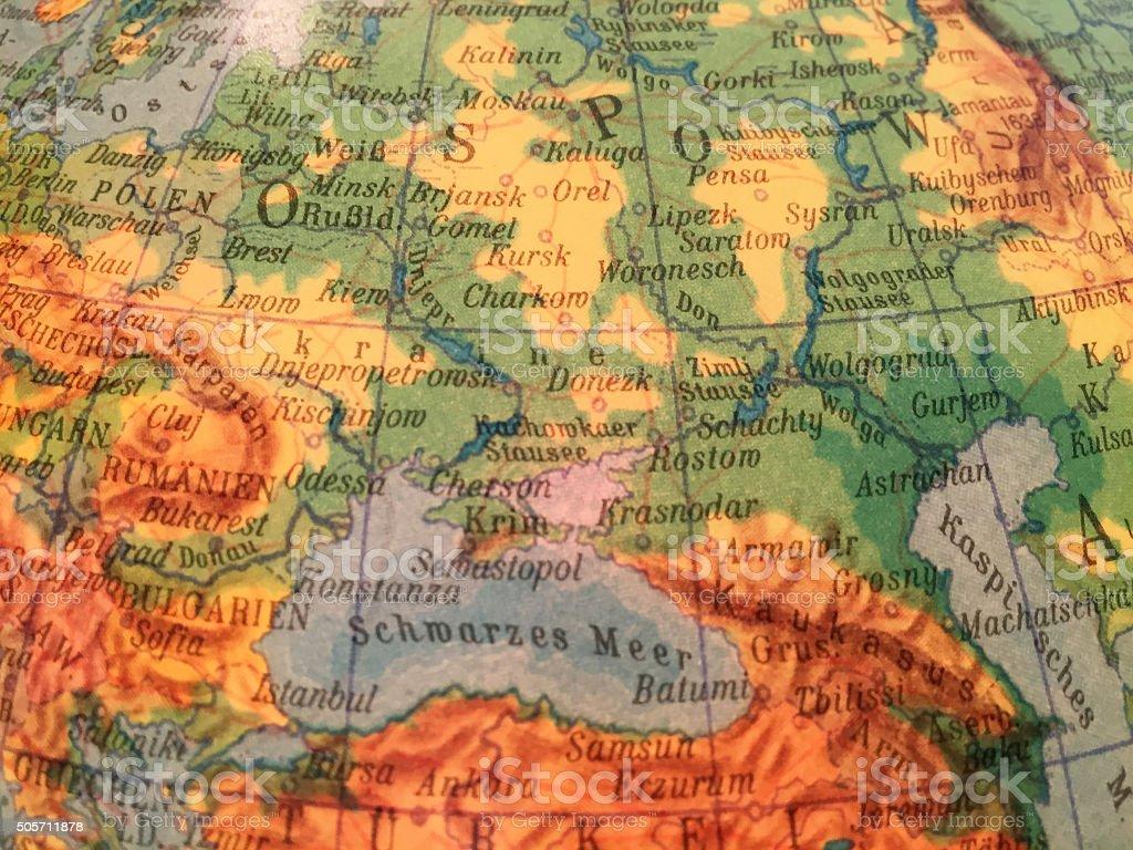 Ukraine, Krim, Russland - Alter Globus / Weltkarte stock photo