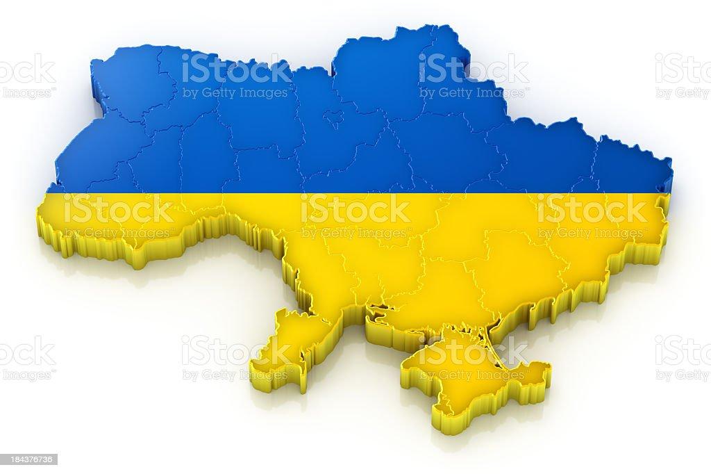 Ukraine map with flag stock photo