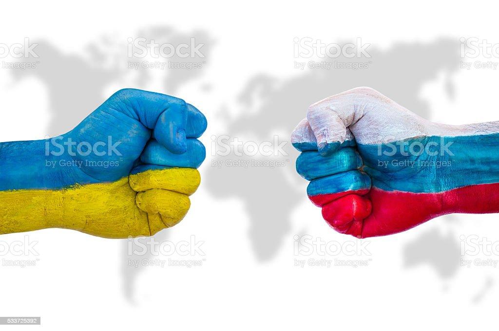 Ukraine versus Russia stock photo