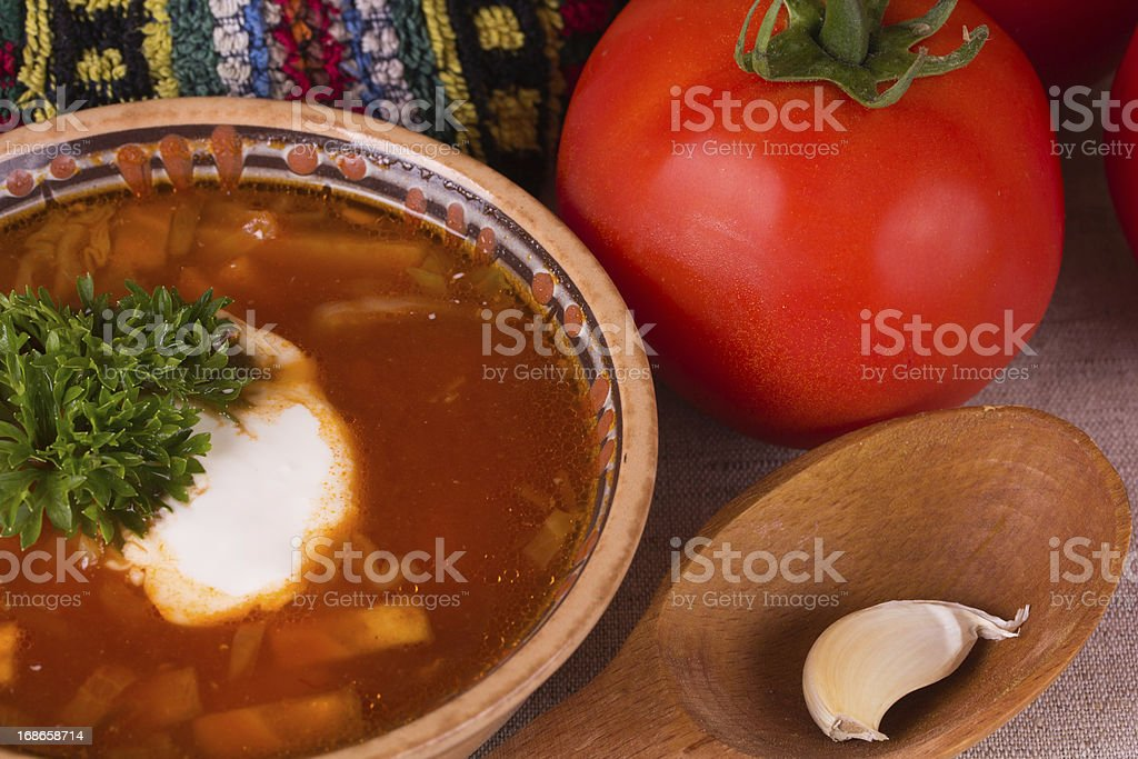Ukrainian beetroot soup royalty-free stock photo
