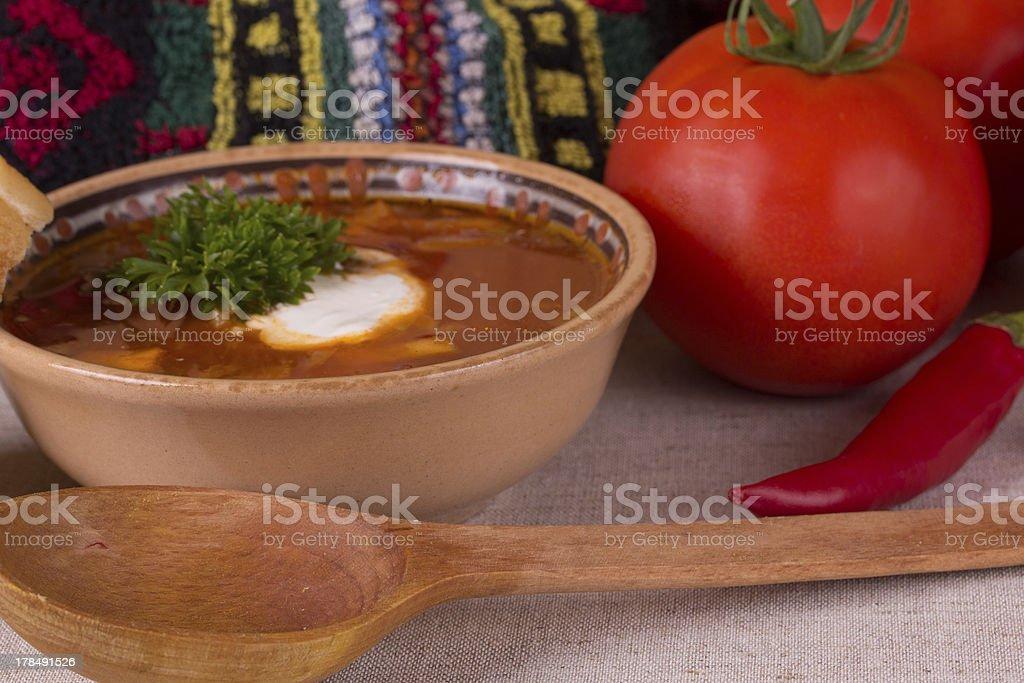 Ukrainian beetroot soup royalty-free stock photo