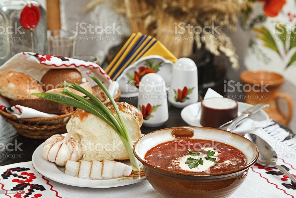 Ukrainian borsch, red-beet soup with pampushki, lard and garlic royalty-free stock photo