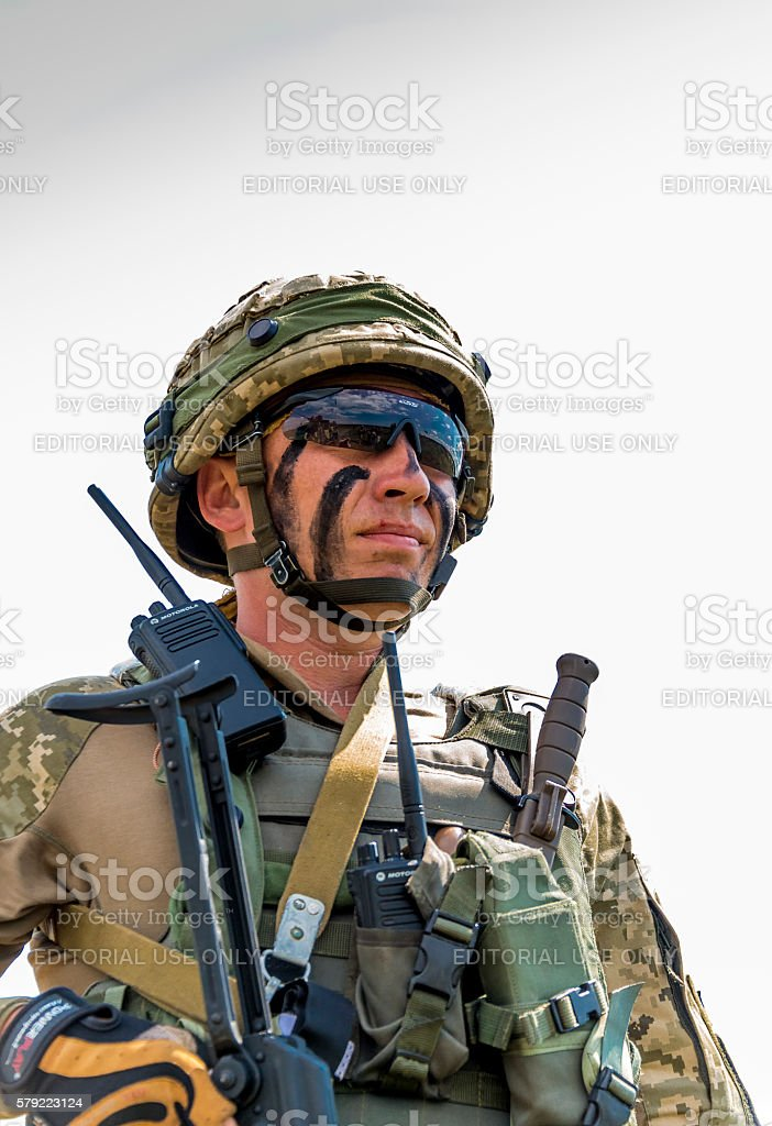 Ukrainian commando after training fight stock photo
