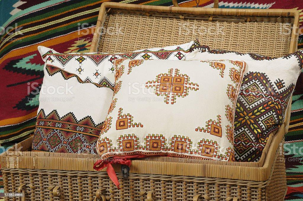 Ukrainian embroidered cushions royalty-free stock photo