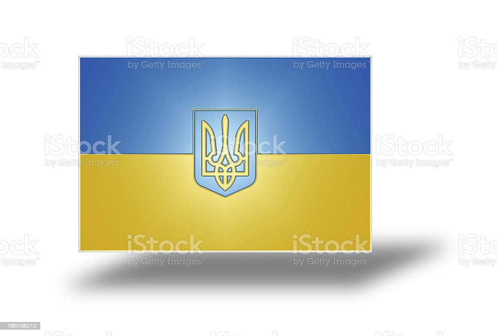 Ukrainian flag with Coat of Arms (stylized I). royalty-free stock photo