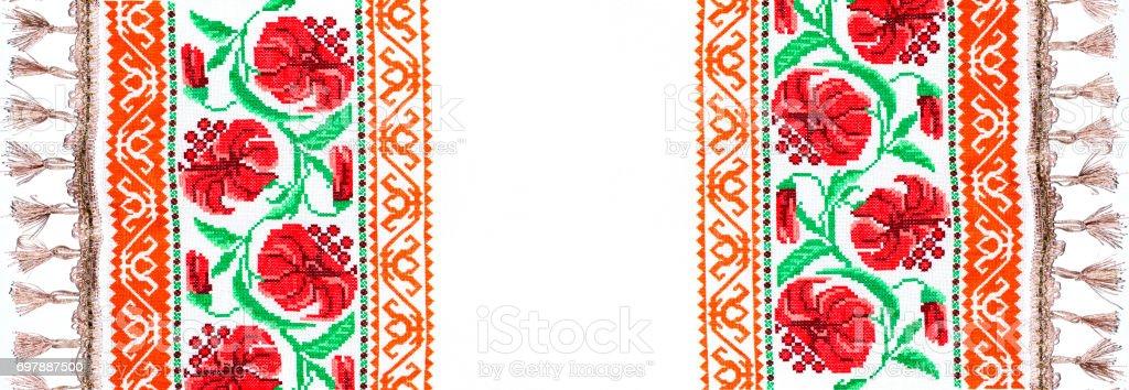 Ukrainian folk embroidery, handmade stock photo