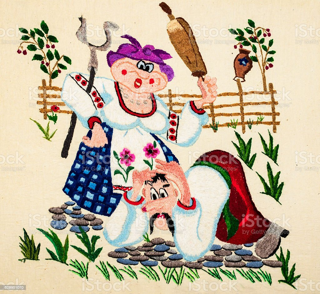 Ukrainian folk embroidery stock photo